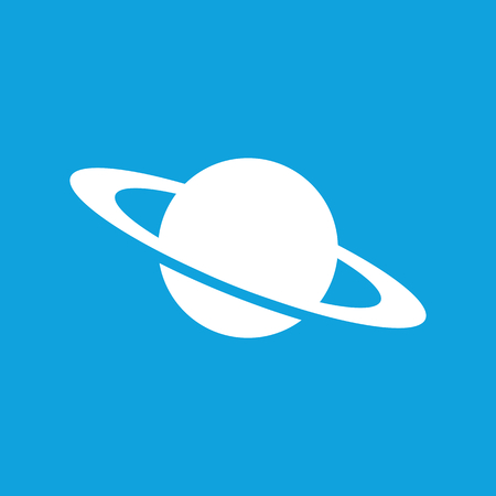 and saturn: Saturn icon, simple white image isolated on blue background