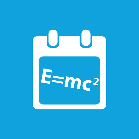equivalence: Calculation schedule icon, simple white image isolated on blue background