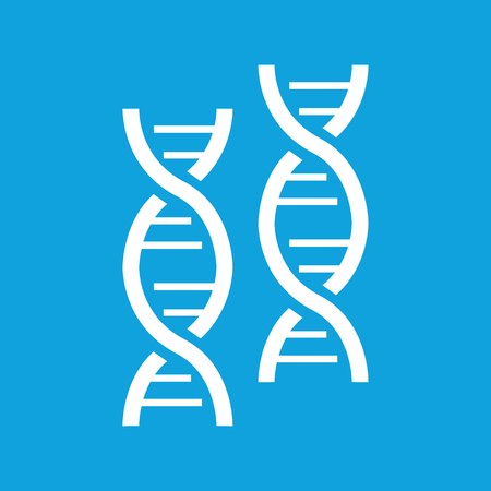 nucleic: Two DNA icon, simple white image isolated on blue background