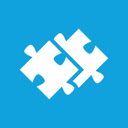brain puzzle: Puzzle icon, simple white image isolated on blue background