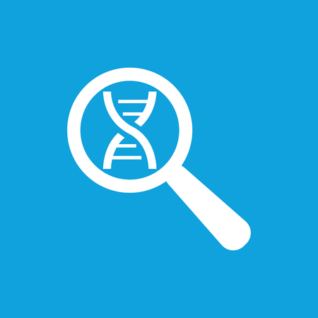 nucleic: DNA analysis icon, simple white image isolated on blue background Illustration