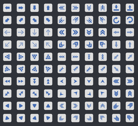 back and forth: Arrow icon set, blue images in light gray square, on black background