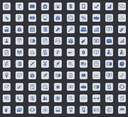 dollar icon: Business icon set, blue images in light gray square, on black background