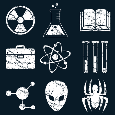 Science icon set, white scratched images on black background Illustration