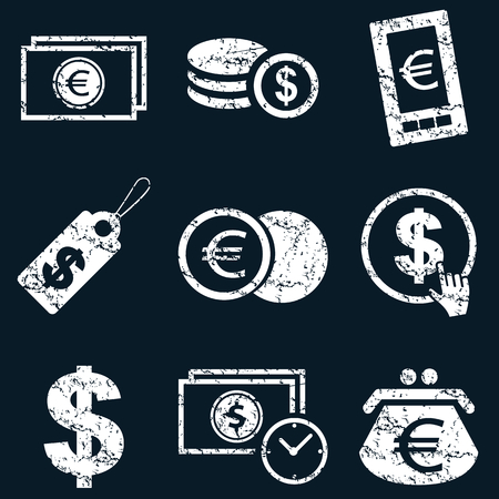 Currency icon set, white scratched images on black background