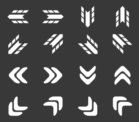 tire imprint: Arrow icon set 2, simple white image on black background