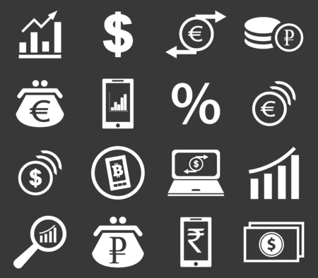 rouleau: Finance icon set 2, simple white image on black background