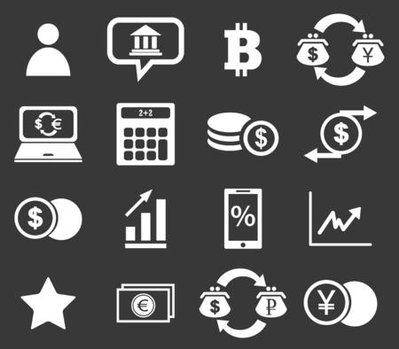 Finance icon set 4, simple white image on black background Illustration