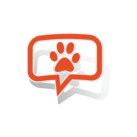 track pad: Animal message sticker, orange chat bubble with image inside, on white background Illustration