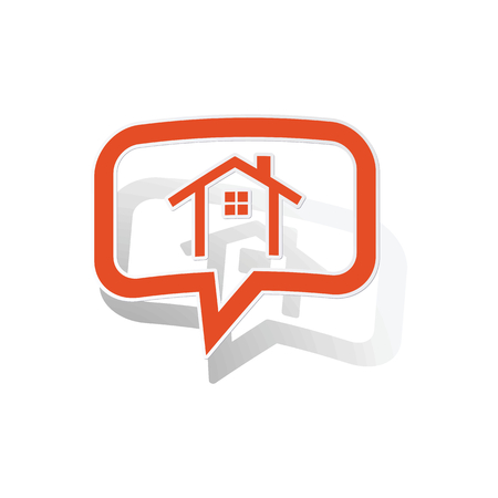 clipart chimney: Cottage message sticker, orange chat bubble with image inside, on white background