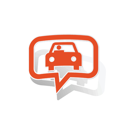 contours: Car message sticker, orange chat bubble with image inside, on white background