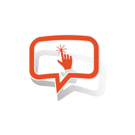 feedback link: Hand cursor message sticker, orange chat bubble with image inside, on white background