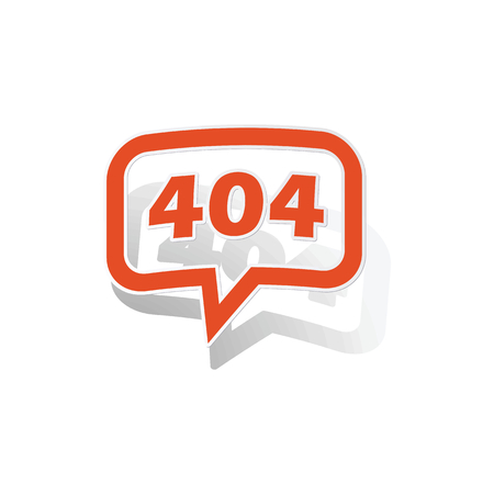 numerical code: 404 message sticker, orange chat bubble with image inside, on white background
