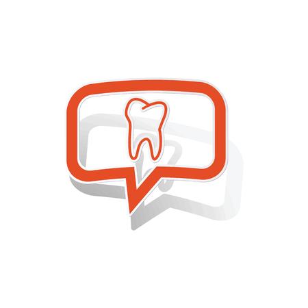 comunicacion oral: Pegatina mensaje de dientes, naranja burbujas de chat con la imagen en el interior, en el fondo blanco
