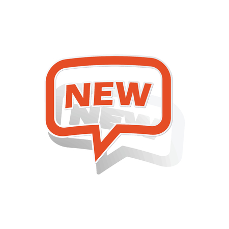 new message: NEW message sticker, orange chat bubble with image inside, on white background
