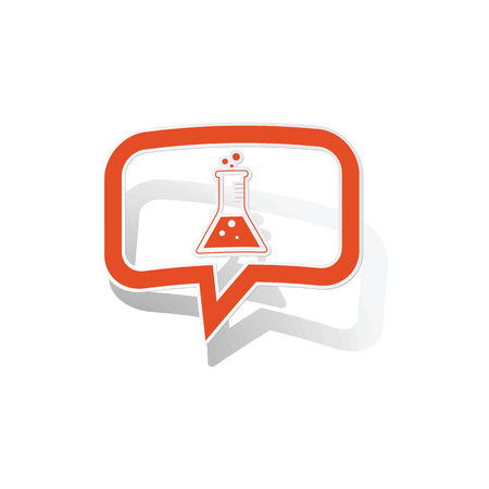 reagent: Chemistry message sticker, orange chat bubble with image inside, on white background