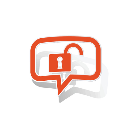 bubble background: Unlocked message sticker, orange chat bubble with image inside, on white background