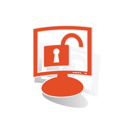 unlocked: Unlocked monitor sticker, orange chat bubble with image inside, on white background
