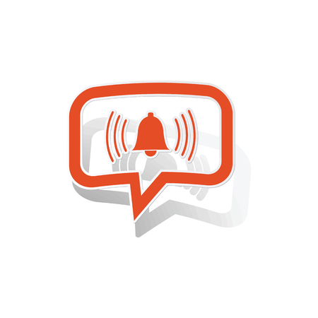 bell curve: Alarm message sticker, orange chat bubble with image inside, on white background Illustration