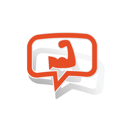 powerlifting: Powerlifting message sticker, orange chat bubble with image inside, on white background