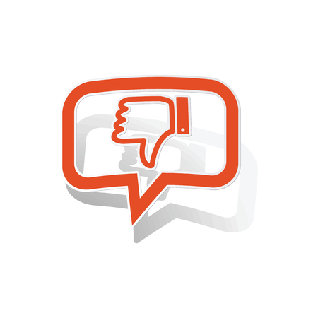 disapproval: Dislike message sticker, orange chat bubble with image inside, on white background
