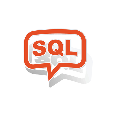 sql: SQL message sticker, orange chat bubble with image inside, on white background