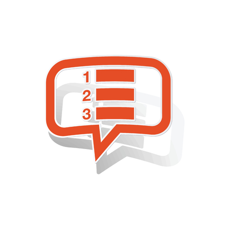 enumerated: Numbered list message sticker, orange chat bubble with image inside, on white background