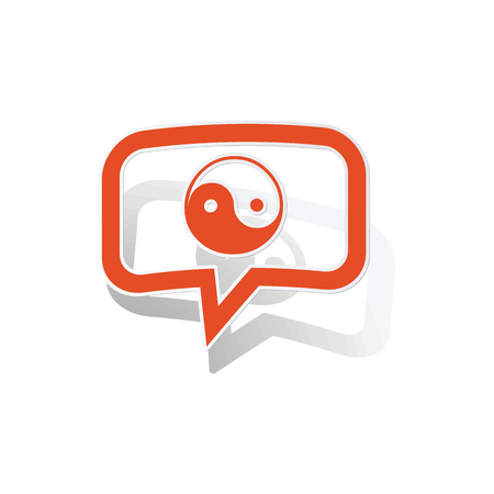 Ying yang message sticker, orange chat bubble with image inside, on white background