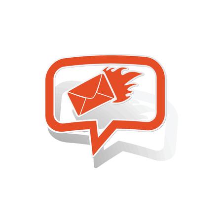 meaningful: Burning envelope message sticker, orange chat bubble with image inside, on white background Illustration