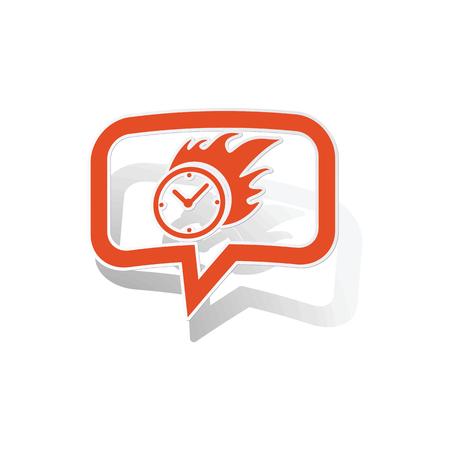 bounds: Burning clock message sticker, orange chat bubble with image inside, on white background Illustration