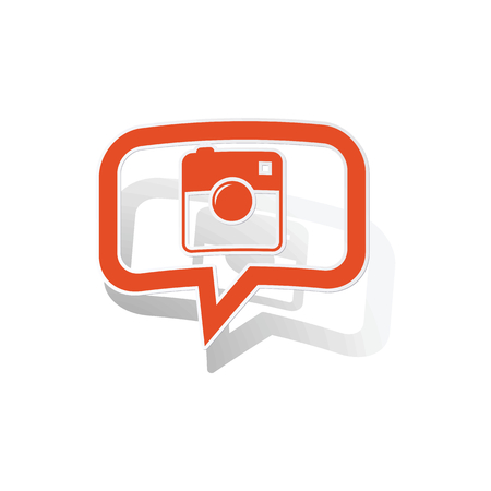 microblog: Square camera message sticker, orange chat bubble with image inside, on white background