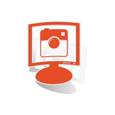 microblog: Square camera monitor sticker, orange monitor with image inside, on white background