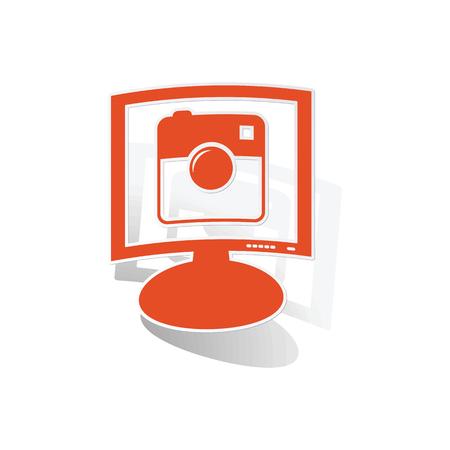 microblog: Square camera monitor sticker, orange monitor with image inside, on white background