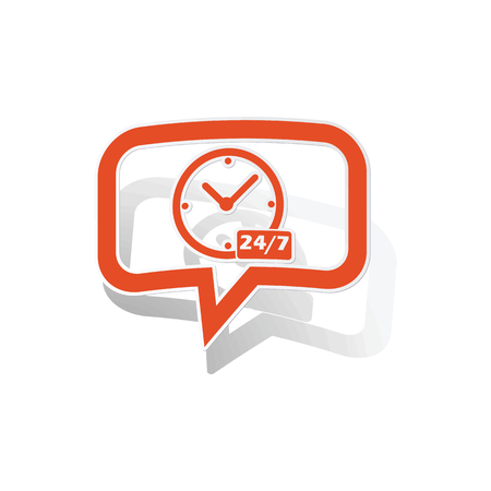 overnight: Overnight daily message sticker, orange chat bubble with image inside, on white background Illustration