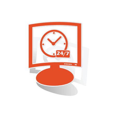 overnight: Overnight daily monitor sticker, orange monitor with image inside, on white background