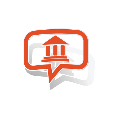 gable: Museum message sticker, orange chat bubble with image inside, on white background