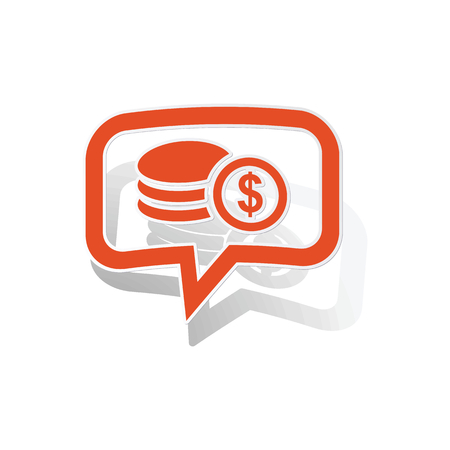 rouleau: Dollar rouleau message sticker, orange chat bubble with image inside, on white background