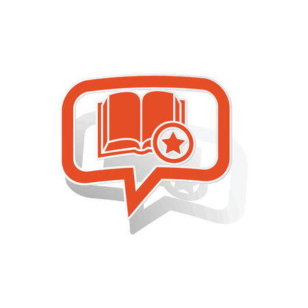 favorite book: Favorite book message sticker, orange chat bubble with image inside, on white background Illustration