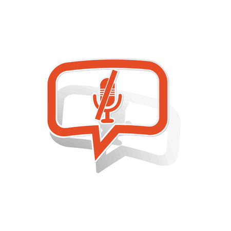 muted: Muted microphone message sticker, orange chat bubble with image inside, on white background Illustration