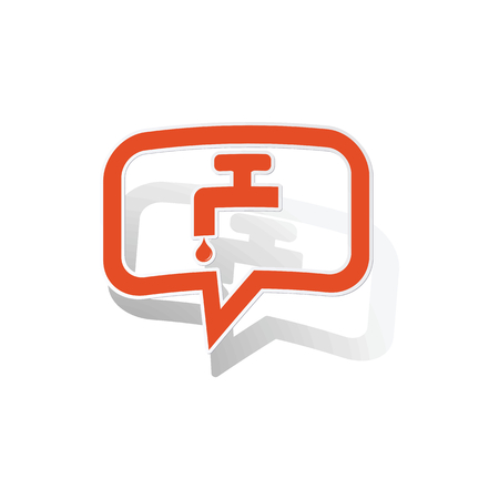 waterdrops: Water tap message sticker, orange chat bubble with image inside, on white background