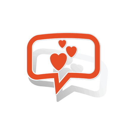 feel affection: Love message sticker, orange chat bubble with image inside, on white background