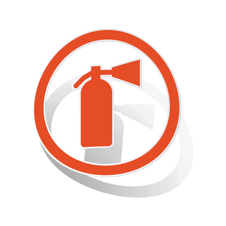 conflagration: Fire extinguisher sign sticker, orange circle with image inside, on white background Illustration