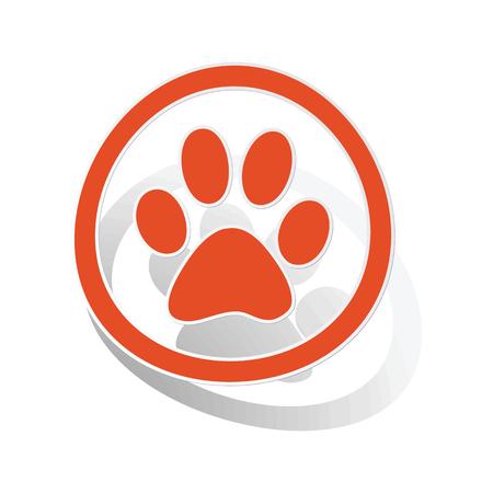 track pad: Animal sign sticker, orange circle with image inside, on white background Illustration