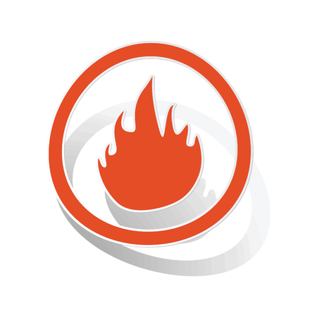 conflagration: Fire sign sticker, orange circle with image inside, on white background Illustration