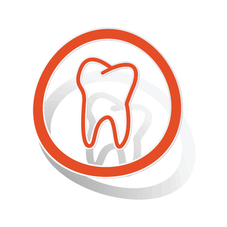 Tooth sign sticker, orange circle with image inside, on white background
