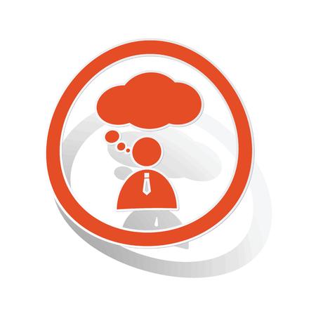 denkender mensch: Denkender Mensch Zeichenaufkleber, orange Kreis mit Bild nach innen, auf wei�em Hintergrund