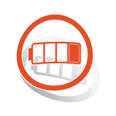 low battery: Low battery sign sticker, orange circle with image inside, on white background Illustration