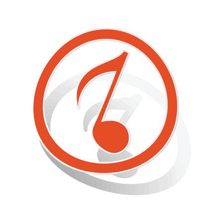 eighth: Music sign sticker, orange circle with eighth note inside, on white background