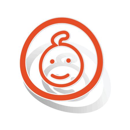infantile: Child sign sticker, orange circle with image inside, on white background Illustration