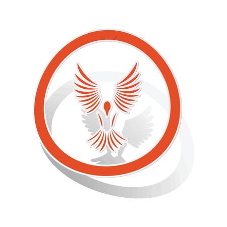 wing span: Freedom sign sticker, orange circle with image inside, on white background Illustration